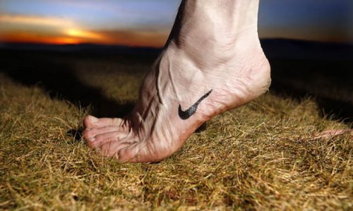 Photograph: James Glossop for The Times  Photo-illustration shows barefoot running instructor John Woodward with a painted-on Nike